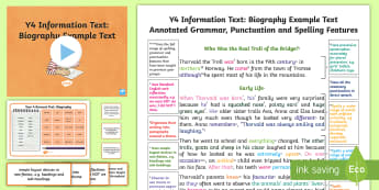 Y4 Information Texts: Biography Model/ Example Text - Example Texts Y4, genre, WAGOLL, exemplar, non-fiction, text, text features, SPaG, GPS, example, exe