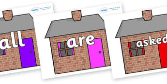 Tricky Words on Brick houses - Tricky words, DfES Letters and Sounds, Letters and sounds, display, words
