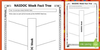 NAIDOC Week Fact Tree Activity Sheet - Australia, 2nd July, history, Aborigines, Aboriginal, Day of Mourning,Australia, worksheet