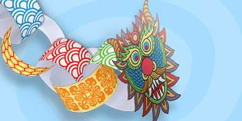 Chinese New-Year Paper Chain Craft Dragon - chinese, Australia