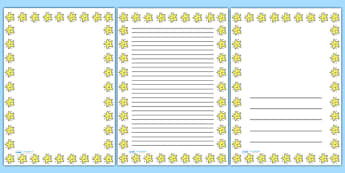 Smiley Star Portrait Page Borders- Portrait Page Borders - Page border, border, writing template, writing aid, writing frame, a4 border, template, templates, landscape