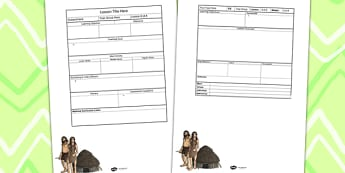 Stone Age Themed Editable Individual Lesson Plan Template