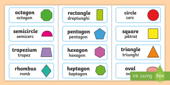 2D Shape Word Cards English/Romanian - Flashcards, Shape Pictures, Shape Words, , geometry, shapes,EAL,Romanian-translation