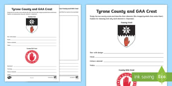 Tyrone County and GAA Crest Activity Sheet - GAA Football All-Ireland Senior Championship, GAA Hurling All-Ireland Senior Championship, GAA crest