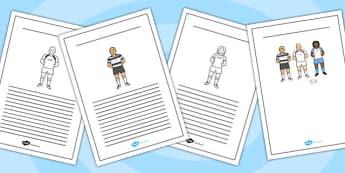 Rugby Writing Frames - rugby, writing frames, writing, frames