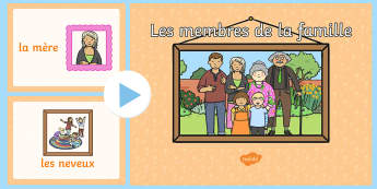 Les membres de la famille - french, visual, display, families