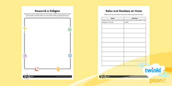 PlanIt -  RE Year 2 - Rules and Routines Home Learning Tasks  - RE Rules and Routines, RE, christianity, judaism, sikhism, hinduism, religion, planning, homework