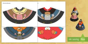Pirate Cone Characters - pirate, cone, characters, craft, cones