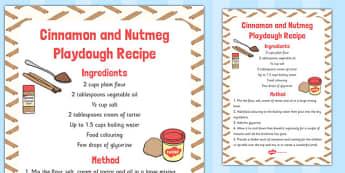 Cinnamon and Nutmeg Playdough Recipe - playdough, recipe, cinnamon