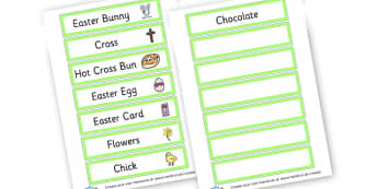 Easter Themed Tray Labels - Easter Class Signs & Labels Primary Resources, easter, signs