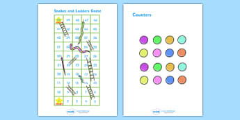 Snakes And Ladders (1-50) - snakes and ladders, 1-50, game, activity, numeracy, maths, calculation