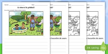Grădina de vară Imagine pentru stimularea scrierii creativă - scriere creativă, compunere, vara , scriere, compuneri, română, fișe, activități, scriere imag