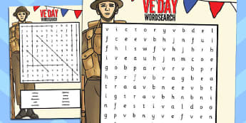 VE Day Wordsearch - ve day, victorious, europe, wordsearch, word