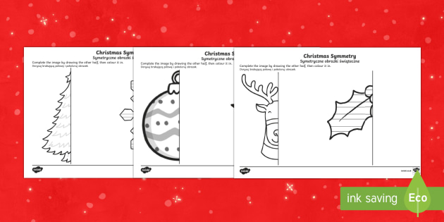 Christmas Themed Symmetrical Activity Sheets English/Polish - Symmetry, Wales, Christmas, Geometry, christmas symmetrical decorations,