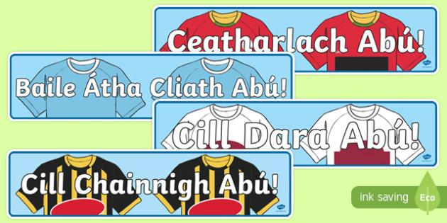 Irish Leinster Counties Abú GAA Display Banner-Irish