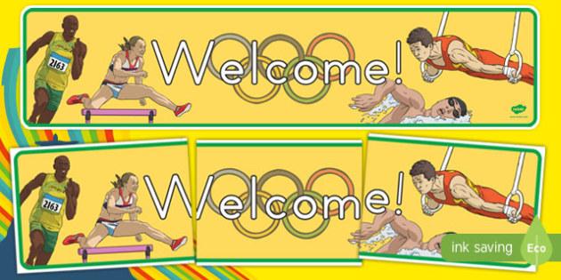 Olympics Themed Welcome Display Banner - usa, america, olympics, 2016 olympics, rio 2016, rio olympics, welcome, display banner, display, banner