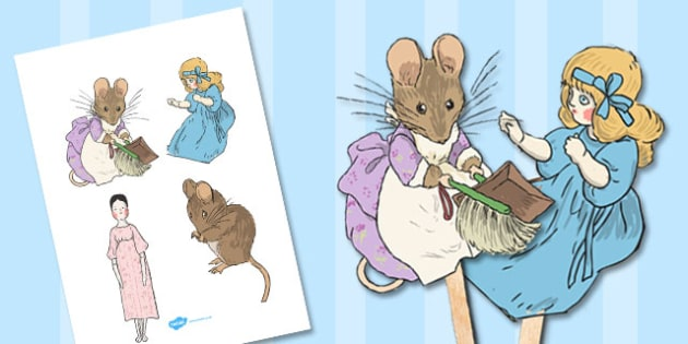 The Tale of Two Bad Mice Stick Puppets - two bad mice, stick puppets