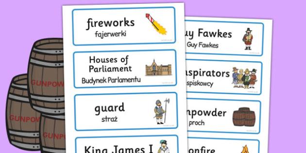 The Gunpowder Plot Topic Word Cards Polish Translation - polish