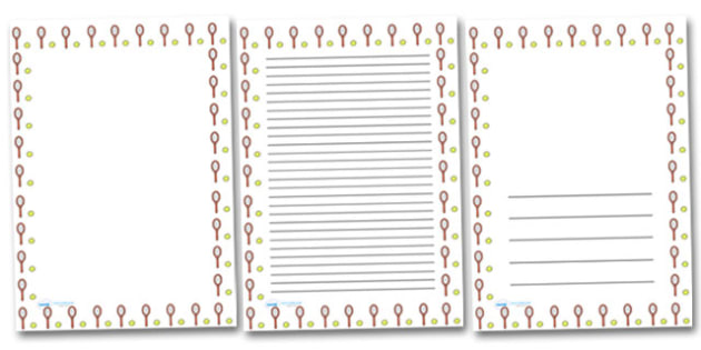 Tennis Portrait Page Borders- Portrait Page Borders - Page border, border, writing template, writing aid, writing frame, a4 border, template, templates, landscape