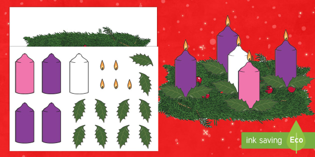 2D Advent Wreath A4 Display Poster