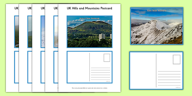 UK Hills and Mountains Postcards - geography, UK, county, counties, mountains