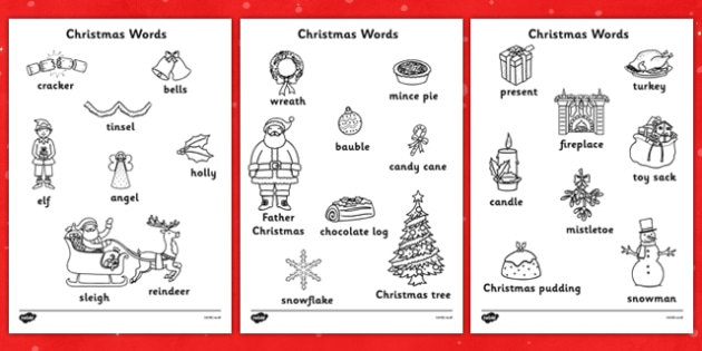 Christmas Words Colouring Sheets - christmas, colouring, keywords