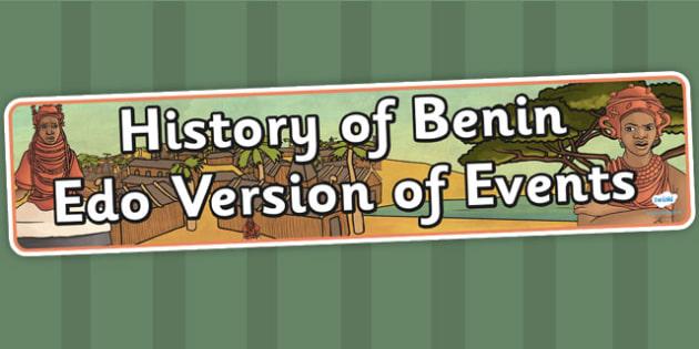 History of Benin Edo Version of Events Display Banner - header