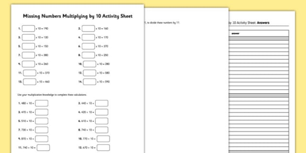 Year 3 Multiplying by 10 Missing Numbers Activity Sheet - year 3, multiplying, 10, missing, worksheet