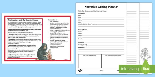 Year 5 Narrative Writing Activity Sheet