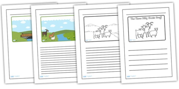 Three Billy Goats Gruff Black and White Lined Writing Frames - three billy goats gruff, black, white, lined, writing, frames, writing frames, literacy