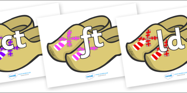 Final Letter Blends on Wooden Shoes - Final Letters, final letter, letter blend, letter blends, consonant, consonants, digraph, trigraph, literacy, alphabet, letters, foundation stage literacy