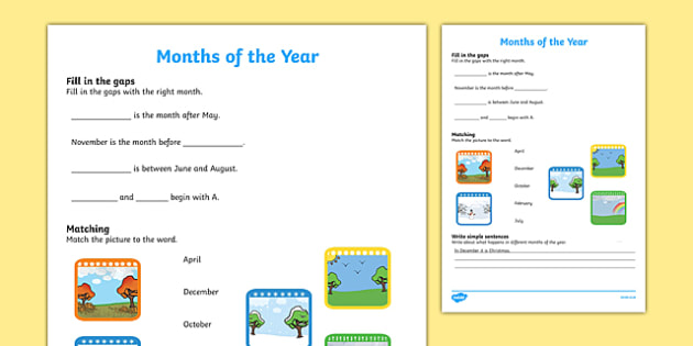 Months of the Year Activity Sheet, worksheet