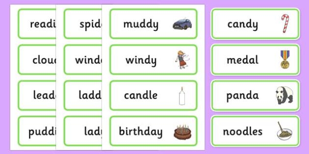 Medial 'd' Word Cards - speech sounds, phonology, articulation, speech therapy, dyspraxia
