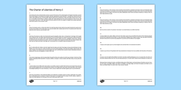 The Charter of Liberties of Henry I Print Out - charter of liberties, henry i, print out