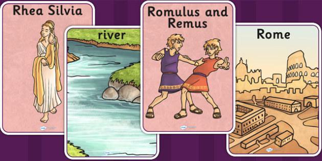 Romulus and Remus Display Posters - romans, roman display, poster