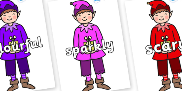 Wow Words on Boy Elves (Multicolour) - Wow words, adjectives, VCOP, describing, Wow, display, poster, wow display, tasty, scary, ugly, beautiful, colourful sharp, bouncy