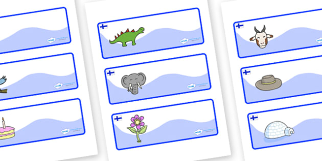 Finland Themed Editable Drawer-Peg-Name Labels - Themed Classroom Label Templates, Resource Labels, Name Labels, Editable Labels, Drawer Labels, Coat Peg Labels, Peg Label, KS1 Labels, Foundation Labels, Foundation Stage Labels, Teaching Labels