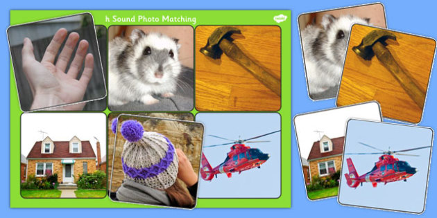 Initial h Sound Photo Matching Board and Cards - sounds, phonics