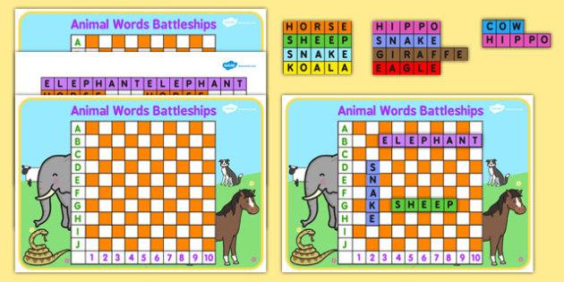 Animal Words Battleships Game - battleships with animals, battleships with animal names, animal battleships, animal activity, animal word game, animal game