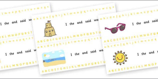 Alphabet Strips (Summer) - Alphabet, Learning letters, Writing aid, Writing Area, holiday, holidays, seasons, beach, sun, flowers, ice cream, sea, seaside