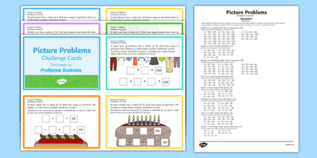 Picture Problems Challenge Cards Romanian Translation - romanian, Year 2 Maths Mastery, deeper understanding, addition, add, plus, total, sum, subtract, subtraction, takeaway, minus, left, more than, greater than, less than, find, solve, reason, pred