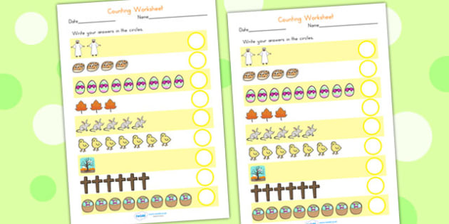 Easter Counting Worksheet - easter, counting, numbers, religion