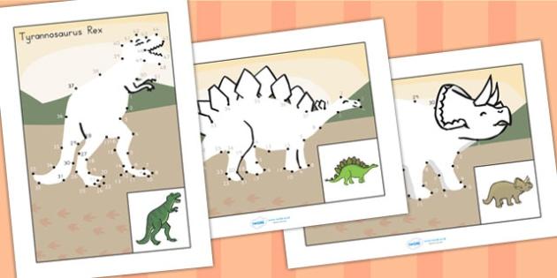 Dot to Dot Sheets Dinosaurs - dinosaurs, fine motor skills, games