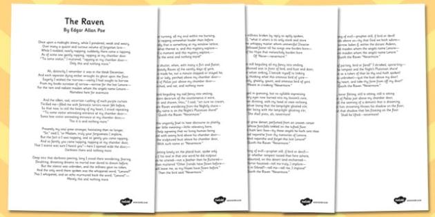 The Raven' by Edgar Allan Poe Poem Sheets - KS2 Poetry, Poem