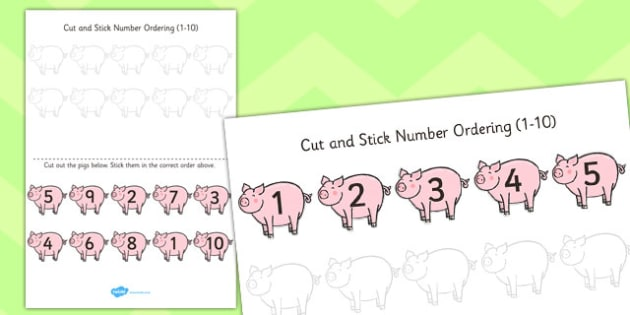 Farm Themed Cut and Stick Number Ordering Activity 1-10 - farm
