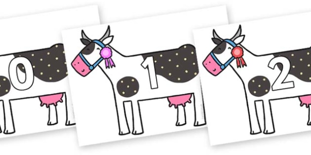Numbers 0-50 on Cow to Support Teaching on What the Ladybird Heard - 0-50, foundation stage numeracy, Number recognition, Number flashcards, counting, number frieze, Display numbers, number posters