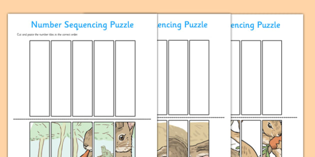 Beatrix Potter - The Story of a Fierce Bad Rabbit Number Sequencing Puzzle - beatrix potter, fierce, bad, rabbit