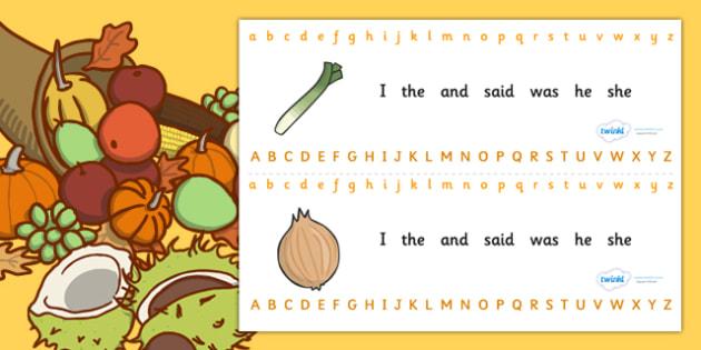 Alphabet Strips (Harvest) - Alphabet, Learning letters, Writing aid, Writing Area, harvest festival, fruit, apple, pear, orange, wheat, bread, grain, leaves, conker