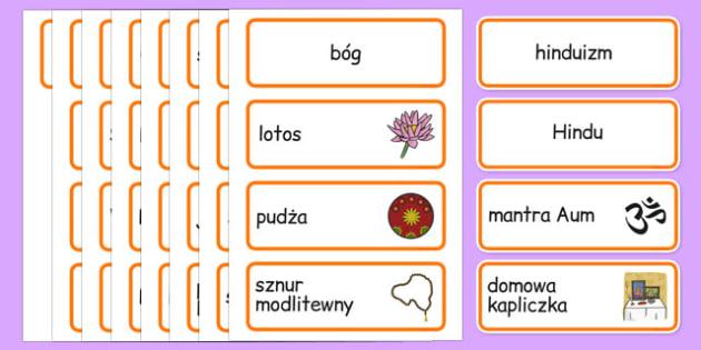 Karty ze słownictwem Hinduizm po polsku - religia, Indie, bogowie