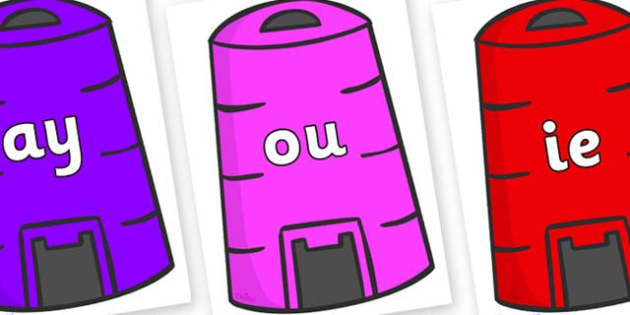 Phase 5 Phonemes on Recycling Bins - Phonemes, phoneme, Phase 5, Phase five, Foundation, Literacy, Letters and Sounds, DfES, display